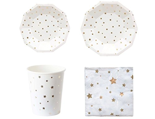 Flower.Princess Deluxe Party Supply Tableware Sets Gold Silver Stars - Large Plates, Small Plates, Napkins, Cups 44PCS (Gold Stars)