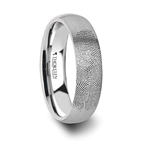 Fingerprint Wedding Band Engraved Flat Black Tungsten Ring with Brushed Finish -6mm - 8mm