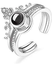 خاتم احبك بمئة لغة، بنقوش صغيرة تظهر مع ضوء الاسقاط، هدية رومانسية للازواج اثنين في واحد، خاتم دائري للنساء