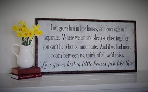 Free Color Custimization Home Decor Love Grows Best In Little Houses Just Like This Rustic Wood Sign Tiny House Living