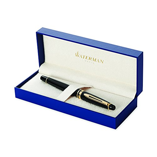 Waterman Expert Black with Golden Trim, Fountain Pen with Fine nib and Blue ink (S0951640)