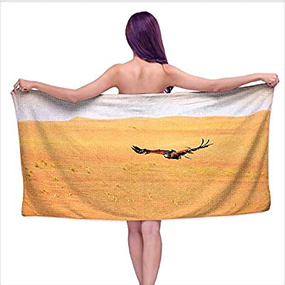Leigh home Absorbent Bath Towel Soft Beach Towel?Harris Hawk Fying Over Dunes in Dubai Desert and The Sky Digital Image, Fade Resistant Cotton Towel