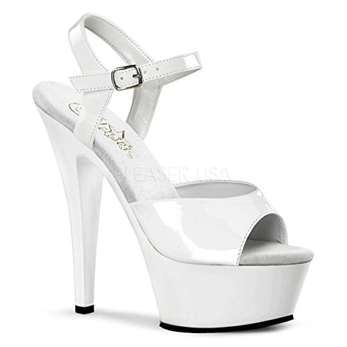 Pleaser Women's Kiss-209 Sandal,White Patent,6 M -