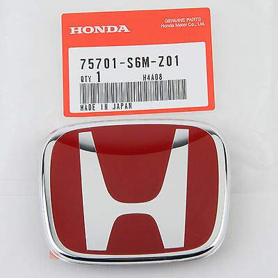(Genuine Honda Red H Emblem 06-11 Civic 02-06 RSX Rear)