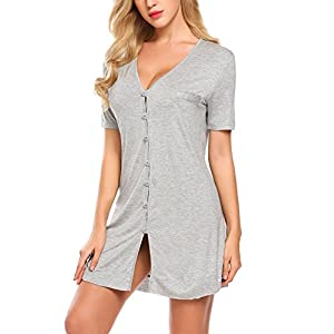 2d18e00d05 Avidlove V Neck Sexy Sleepwear Shirts Short Sleeve Pajama Dress  Button-Front Nightshirt