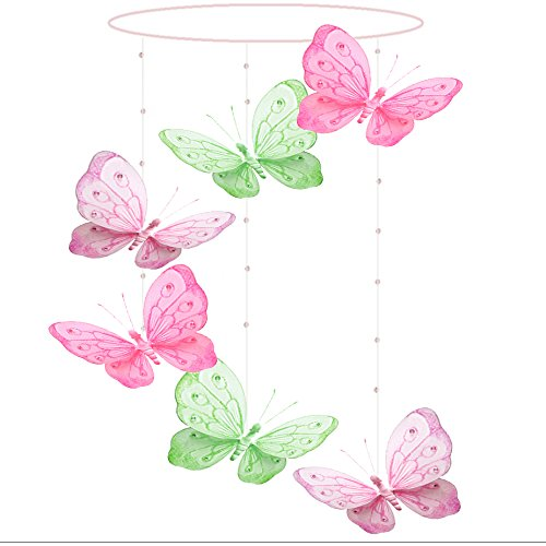 Cot Butterfly - Butterfly Mobile Dark Pink Fuchsia Green Pink Shimmer Spiral Nylon Mesh Butterflies Mobiles Decorations Decorate Baby Nursery Bedroom Girls Room Ceiling Decor Party Baby Shower Crib Hanging 3D Art