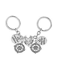 Iumer 2pcs Alloy No Matter Where Best Friends Compass Split Heart Keychain