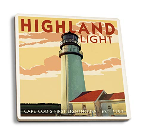 - Lantern Press Cape Cod, Massachusetts - Highland Light (Set of 4 Ceramic Coasters - Cork-Backed, Absorbent)
