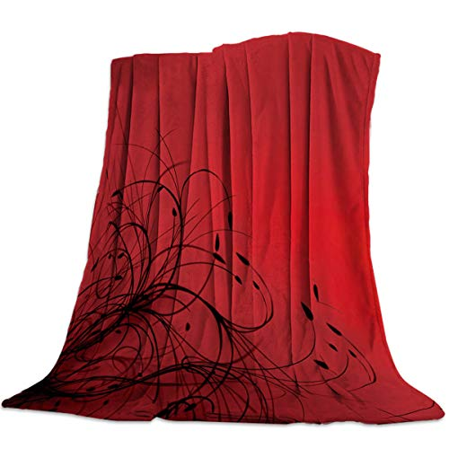 Super Soft Fleece Flanne Throw Blanket 50x80inch Modern Cozy Microfiber Bed Blanket for Sofa Couch Chair All Season Use, Red Black Flower Abstract Wallpaper