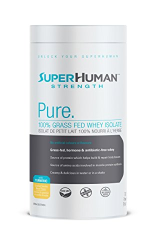 SuperHuman Strength Pure Whey Isolate Protein Supplement - Gluten Free Vanilla Protein Powder w/ Turmeric, 700g by SuperHuman Strength