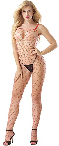 Industrial Sheer Closed Net Body Stocking Plus Size Bodysuits Lingerie (Red) - Industrial Net Bodystocking