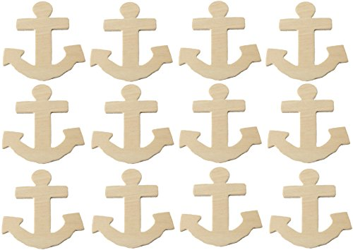 Creative Hobbies Unfinished Wood Anchor Cutout Shapes, Ready to Paint or Decorate, 4 Inch Tall, Pack of 12 …
