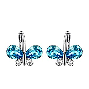 Neoglory Imitation Platinum Rhinestone Blue Crystal Butterfly Hook Earrings Women Jewelry Gift Mother's Day