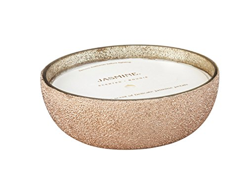 B. Boutique Jasmine Rose Gold Foil Textured Glass Bowl Candle - Evergreen Votive Candle