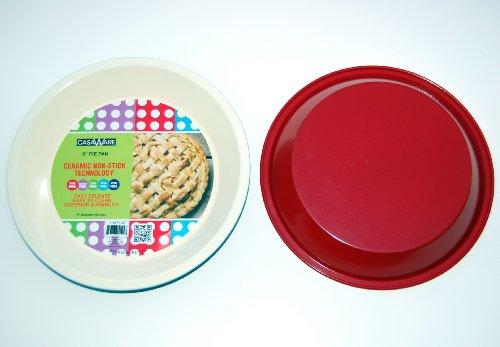 - casaWare Ceramic Coated NonStick 9-Inch Pie Pan (Cream/Red)