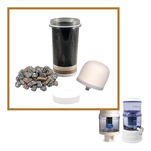 Pour System - Nikken Aqua Pour 1 Filter Cartridge 1 Micro Sponge Pre-Filter 1 Ceramic Pre-Filter 1 Mineral Stones, 1361 1362 1364 1386, Replacement for Gravity Water FIlter Purifier System 1360, PiMag