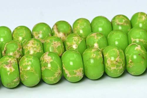 12X8MM Apple Green Sea Sediment Imperial Jasper Beads AAA Rondelle Beads 15