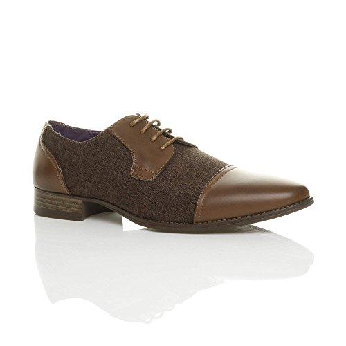 Ajvani Mens Pointed Contrast Tweed Oxford Shoes Size Brown Uy7Lkaj27