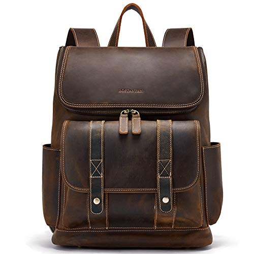 BOSTANTEN Leather Backpack 15.6 inch Laptop Backpack Vintage Travel Office