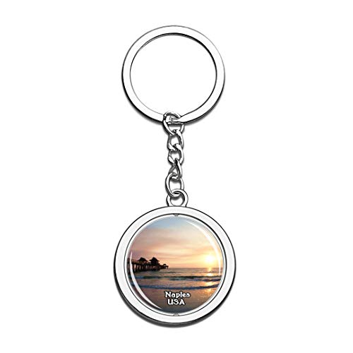Keychain Naples Pier United States USA US Keychain Crystal Spinning Round Stainless Steel Keychains Souvenir Key Chain Ring]()