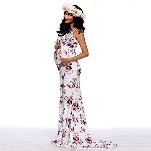 BOOMJIU Women's Off Shoulder Sleeveless Ruffles Lace Maternity Gown Maxi Photography Dress White by Women Dress (Image #6)