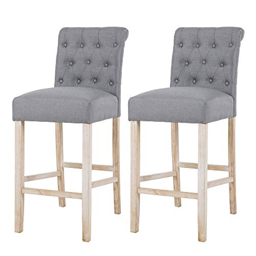 NOBPEINT Fabric Upholstered Barstool Solid Wood Legs 30 , Gray Set of 2
