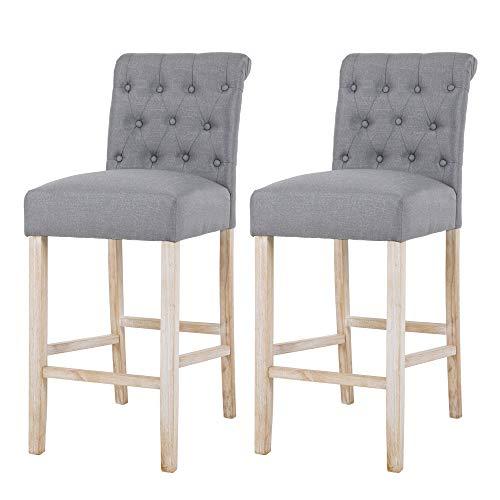 NOBPEINT Fabric Upholstered Barstool Solid Wood Legs 30