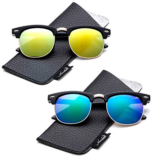 Kids Polarized Sunglasses Retro Horn Rimmed Girls/Boys with Pouch (2-8 Years)
