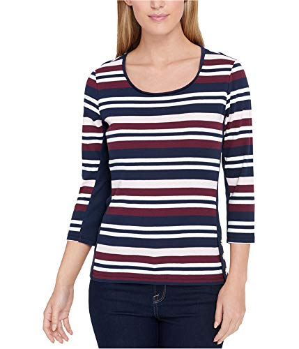 Hilfiger 3/4 Tommy Sleeve - Tommy Hilfiger Womens Striped 3/4 Sleeves Casual Top Pink M