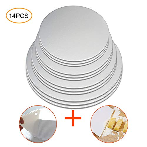 (Cake Boards, 12 Pack Cake Base Cardboards 3 Each (6, 8, 10, 12 Inch), Sliver Foil Round Cake Circles, Cake Rounds, Cake Circles,Round Cake Boards,Baking Sets)