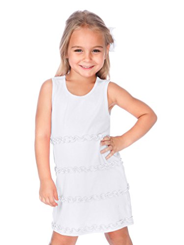(Kavio! Little Girls 3-6X A-Line Lettuce Edge Ruffles Scoop Neck Sleeveless Dress White 4)