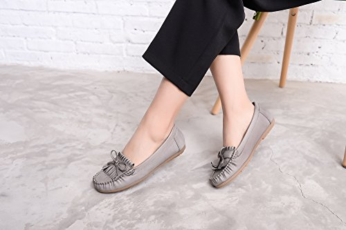 Slip amp; Shoes Loafer Walking Womens Moccasins Lady Grey Flats Mlia On Casual Driving qwzfxqRPt