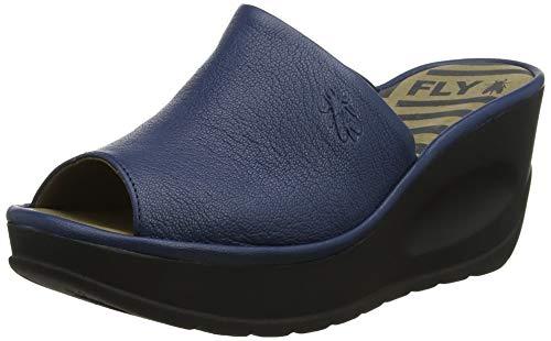 FLY London Womens Jamb Mousse Summer Leather Wedge Heel Peep Toe Sandals - Blue - US8/EU39