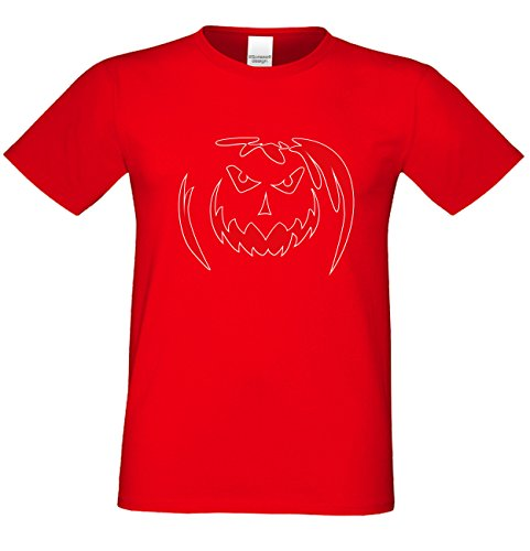 T-Shirt - Böser Halloween Kürbis Shirt rot - gruseliges Motiv Shirt für Leute mit Humor