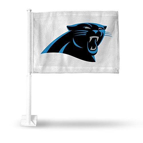 NFL Carolina Panthers Car Flag, White, with White Pole