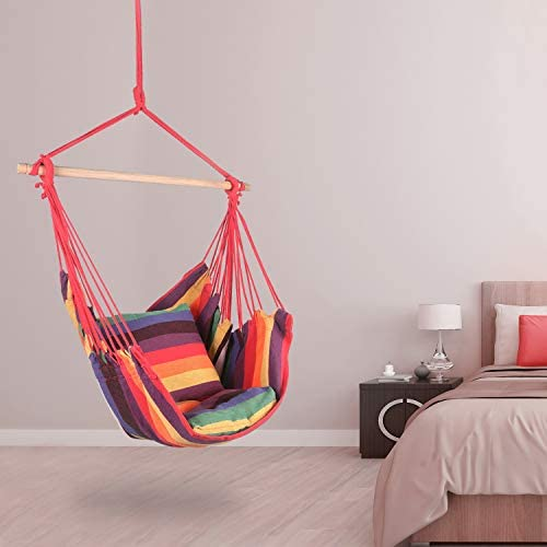 Bathonly Hanging Hammock Chair, Hammock Chair with 2-Seat Cushions, Small Size Hanging Chair, Swing Chair for Yard Bedroom Patio Garden, Max.265LBs