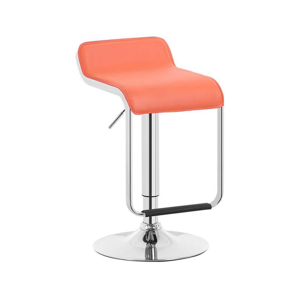 orange CJC Stools Bar Chair Seat Barstool Backrest Adjustable Gas Lift Chrome Plated Footrest Base (color   Black)