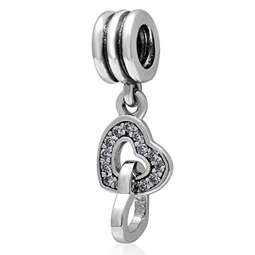 (Heart linked to Heart Dangle Charm - Authentic 925 Sterling Silver Pendant Beads - Fit for DIY Charms)