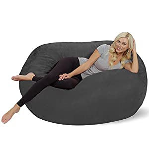 Chill Sack Bean Bag Chair: Huge 5' Memory Foam Furniture Bag and Large Lounger - Big Sofa with Soft Micro Fiber Cover - Charcoal