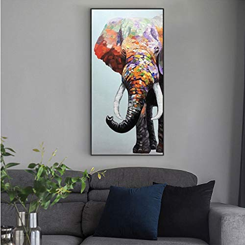 - ZTXY Modern Simple Single Hanging Picture with Frame Hand Painted Oil Painting Lucky Elephant On Canvas Wall Art for Wall Decor Hang for Home Decoration Wall