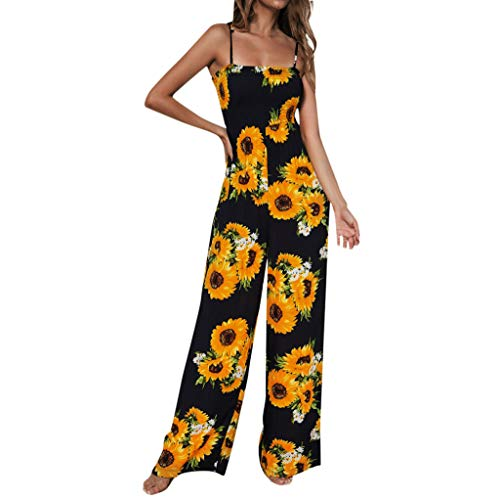 TOTOD Jumpsuit Women Sunflower Dot Print Sleeveless Camis Clubwear Wide Leg Pant Bodycon Playsuit(311-Navy-Sunflower,L) ()