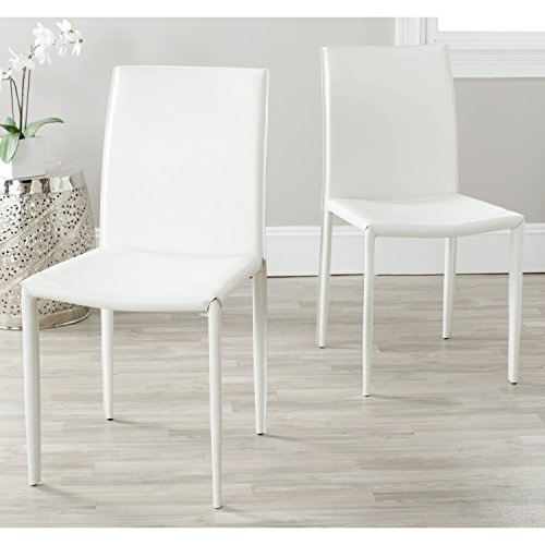 - Safavieh Home Collection Karna Modern White Leather Dining Chair (Set of 2)