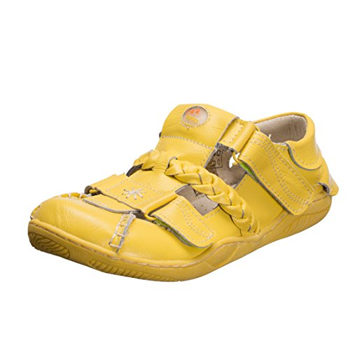 TMA Schuhe 1335 Sandalette Ballerina Gr.36-42 echt Leder mit perforiertem Lederfußbett in Rot, Grün, Schwarz, Antikblau, Gelb und Weiß . Schöner breiter Schnitt. Gelb