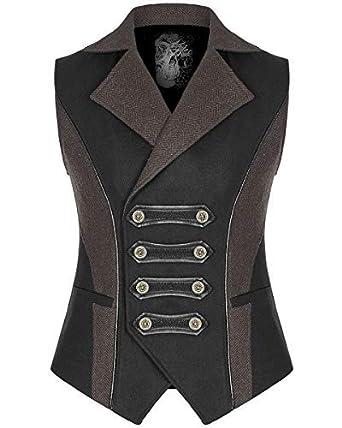 65e594d90804 Punk Rave Herren Steampunk Militär Weste Schwarz Braun Gothik VTG Uniform -  Schwarz, X-
