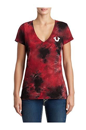 True Religion Women's Tie Dye Classic Buddha Logo Deep V-Neck Tee T-Shirt (Ruby Red/Black, X-Large)