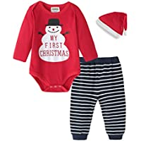 Fiream Baby Girls Clothes Infant Romper Bodysuit + Headband 3pcs Fashion Outfits Set