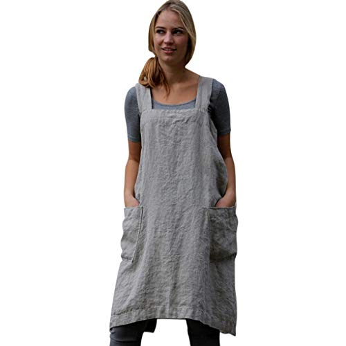 Womens Vintage Cross Back Sleeveless Apron Overall Tunic Dress, Casual Baggy Pinafore Midi Dress With Pockets S-2XL (Gray A, XXXXX-Large)