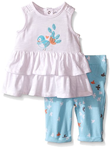 Petit Lem Girls' Baby 2 Piece Set Top and Legging-White, 24 Months ()