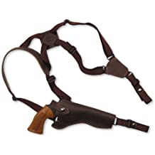 """Barsony New Brown Leather Cross Harness Vertical Shoulder Holster for 6"""" 38 357 44 Revolvers"""