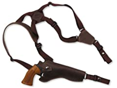 Premium Quality Leather REVOLVER Shoulder Holster with precision stitching, lightweight (only 10 oz) and made in the USA. This traditional, horizontal shoulder holster has a wide flat shoulder pad made from durable cowhide leather which grabs...